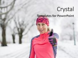 Presentation theme with fitness running woman in winter background and a light gray colored foreground.