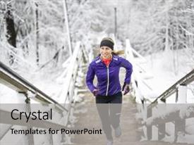 PPT theme enhanced with fitness running woman in winter season background and a light gray colored foreground.
