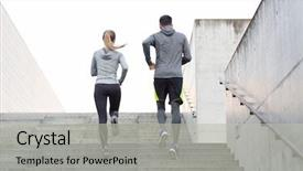 Beautiful theme featuring fitness sport people exercising backdrop and a light gray colored foreground