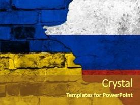 5000 russia ukraine powerpoint templates w russia ukraine themed cool new slides with flag of ukraine and russia backdrop and a tawny brown colored foreground toneelgroepblik Images