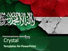 Audience pleasing PPT theme consisting of flags of saudi arabia backdrop and a forest green colored foreground