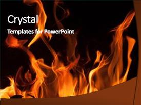 Beautiful slide deck featuring flames on a black background backdrop and a black colored foreground.