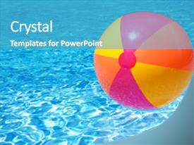 swimming pool beach ball background. Slide Deck With Floating On The Swimming Pool Background And A Teal Colored  Foreground. Beach Ball