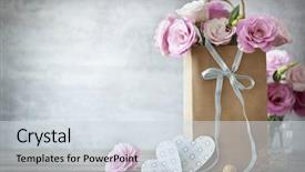 Cool new presentation with flower - valentines day background with pink backdrop and a sky blue colored foreground