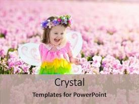 PPT theme featuring flower field kids princess birthday background and a mint green colored foreground.