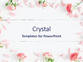 Amazing PPT theme having composite - flowers composition pink flowers backdrop and a sky blue colored foreground.