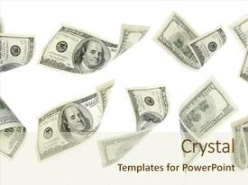 Audience pleasing slides consisting of flying money on white background backdrop and a soft green colored foreground