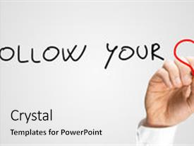 PPT theme having follow your heart motivational message background and a white colored foreground.