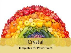 Audience pleasing presentation consisting of food - fruit and vegetable rainbow backdrop and a yellow colored foreground