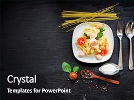 Theme enhanced with food concept with tasty pasta background and a dark gray colored foreground.