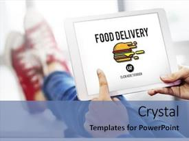 PowerPoint Template: nine tiles with a hand, a stop clock
