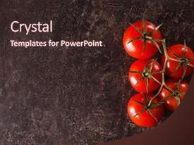 Colorful PPT theme enhanced with food on table red tomatoes backdrop and a wine colored foreground.