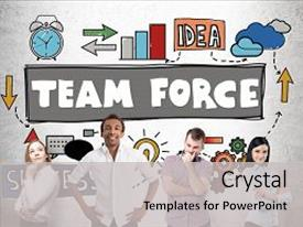 Cool new slide deck with forces work strategy - team force concept with multiracial backdrop and a light gray colored foreground.