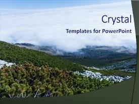 Cool new presentation with forest green mountain forest landscape backdrop and a sky blue colored foreground.