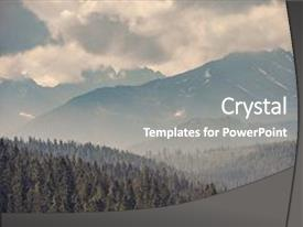 Slide deck with mountains - forest green mountain forest landscape background and a gray colored foreground.