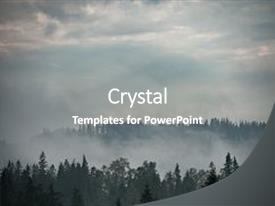 Cool new PPT theme with forest green mountain forest landscape backdrop and a gray colored foreground.