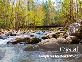 Presentation theme having forest river water cascades over rocks in great smoky mountains national park usa background and a gray colored foreground.