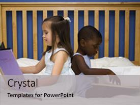 Cool new presentation theme with foster youth - two small children reading together backdrop and a light gray colored foreground.