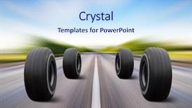 PPT layouts with four automobile wheels rush background and a sky blue colored foreground
