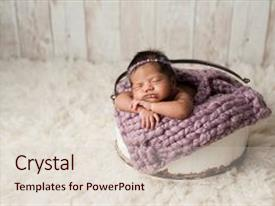 Slides consisting of four week old newborn baby background and a  colored foreground.