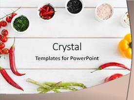 Colorful PPT layouts enhanced with frame of healthy spicy food backdrop and a  colored foreground.