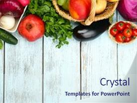 Audience pleasing PPT theme consisting of frame with fresh organic vegetables backdrop and a  colored foreground.