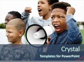 Beautiful presentation theme featuring free - young boy shouting backdrop and a ocean colored foreground