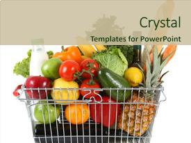 Beautiful PPT layouts featuring fresh fruit and vegetables backdrop and a soft green colored foreground.