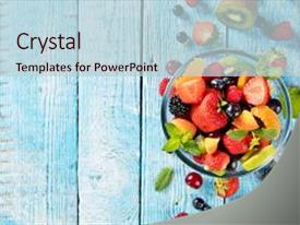 Beautiful theme featuring fresh fruit salad with various backdrop and a  colored foreground.