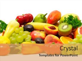 Beautiful PPT theme featuring fresh fruits and vegetables isolated backdrop and a yellow colored foreground.