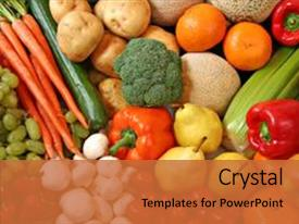 PPT theme featuring fresh fruits and vegetables background and a red colored foreground.