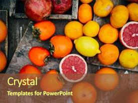 PPT theme with fresh fruits mixed fruits background background and a tawny brown colored foreground.