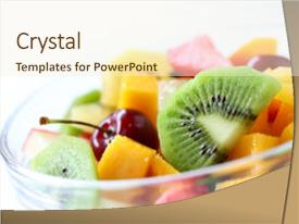 Amazing PPT theme having fresh fruits salad on white backdrop and a cream colored foreground.