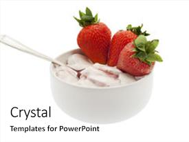 Theme featuring fresh fruits - yogurt with strawberry milk product background and a white colored foreground.