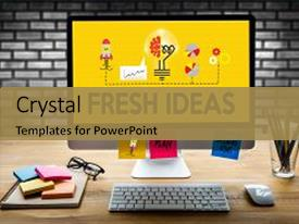 PPT theme enhanced with fresh ideas innovative ideas business background and a gold colored foreground.