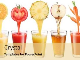 Beautiful PPT theme featuring fresh juice pours from fruit backdrop and a blonde colored foreground