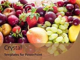 Colorful slide deck enhanced with fresh mixed fruits and berries backdrop and a coral colored foreground.