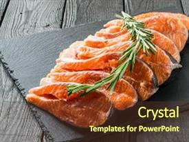 Slides featuring fresh salmon sliced on steaks and rosemary on slate plate preparation for cooking fish salmon is source of protein omega-z and vitamin d important product in diet and healthy nutrition background and a tawny brown colored foreground.