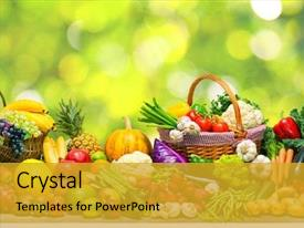 PPT layouts with fresh vegetables and fruits background background and a gold colored foreground