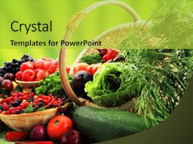 Presentation theme enhanced with fresh vegetables fruits and other background and a  colored foreground.