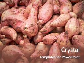 Presentation design enhanced with fresh yam background yam sale background and a violet colored foreground.