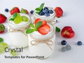 Presentation consisting of breakfast with yogurt with fruits background and a light gray colored foreground.