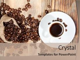 PPT theme consisting of freshly made coffee in a background and a coral colored foreground