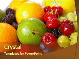 Audience pleasing slides consisting of freshly washed fruits with water backdrop and a tawny brown colored foreground.