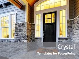 Cool new presentation design with front covered porch design boasts stone siding which creates immense curb appeal of luxurious home welcome mat lead to black front door accented with sidelights framed by white siding northwest usa backdrop and a gray colored foreground.