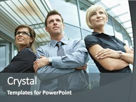 Colorful presentation design enhanced with front of office building backdrop and a dark gray colored foreground.