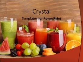 PPT layouts consisting of fruit - glasses of tasty fresh juice background and a coral colored foreground