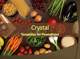 Beautiful presentation theme featuring fruit and other healthy food backdrop and a tawny brown colored foreground.
