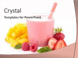 Beautiful presentation design featuring fruit juice smoothie backdrop and a pink colored foreground