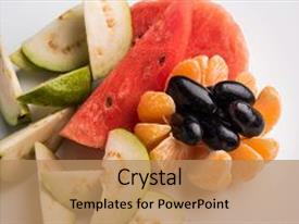 Colorful PPT layouts enhanced with fruit salad in the white backdrop and a  colored foreground.